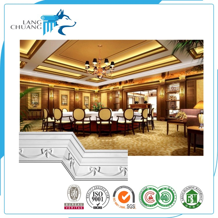 Banquet Hall Palace Style Ceiling Decoration Gypsum Fiber Cornice Molding