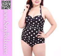 Polka dots print one piece plus size bikini