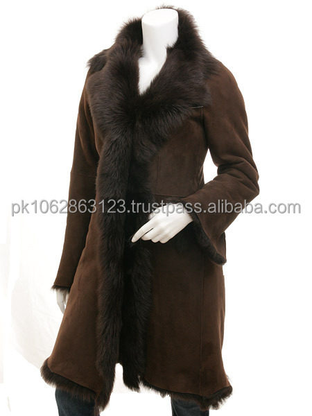 Fashion Long Coat In sheep Leather / Soft Sheep Leather Coat Gents+ Ladies with good quality fur