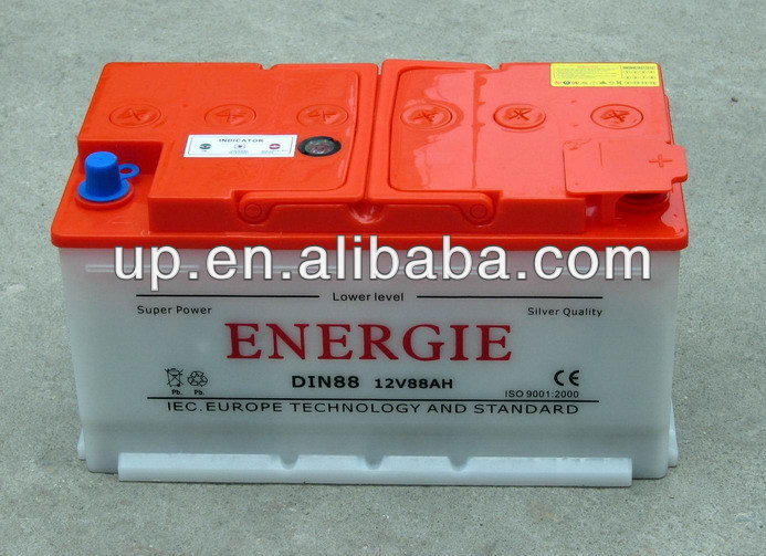 12V 88AH Dry charged automotive car battery