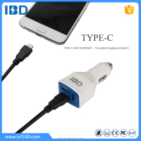 USB TYPE-C car Charger 5V 3A FCC CE Rohs Approval 45W with fast data cable