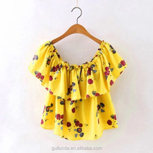 Latest women tops chiffon fabric flower print ladies off shoulder