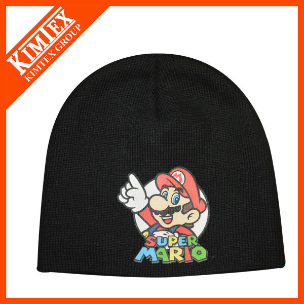 screen print logo knitted beanie hat for give away