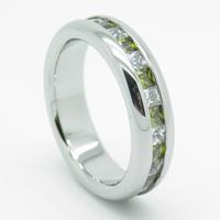 channel set cubzic zirconium stones titanium wedding ring