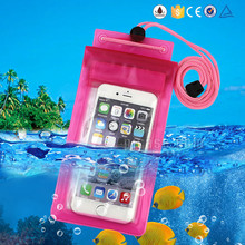 PVC water proof phone bag, with a neck lanyard waterproof cell phone bag for iphone 6 / 6s