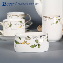 Pure White Logo Customized Fine Porcelain Antique Coffee And Tea Sets 15 pcs