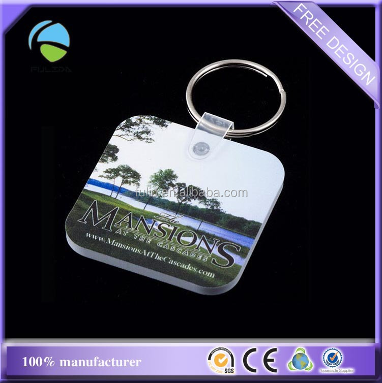 Custom Rounded Corners Square Soft EVA PVC Foams Key Chain Keyring