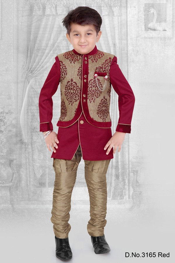 Eid special Red Kids/Children Kurta sherwani designs in ready stock