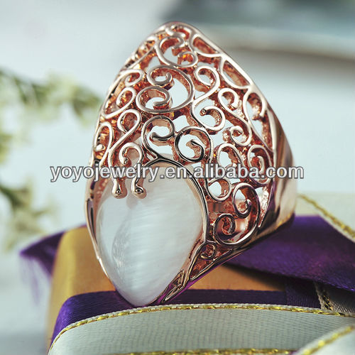 Creative Fashion Design Jewelry Ring Top Quality Royal 18k Rose Gold Plated Pearl Ring Low Price