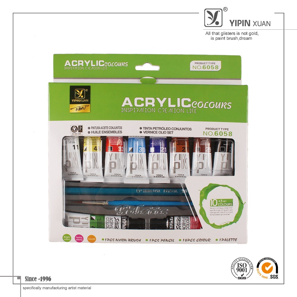 Free Sample 2015 Hot Sell Bulk Best Quality 12 Color Art Acrylic Colour Paint Set For Students
