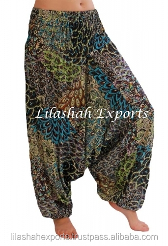 M2100 Rayon Printed Summer Trouser Light Weight Cotton JumpSuits Garments Soft Cotton Fabrics Clothes Hindu Ropa Vetement