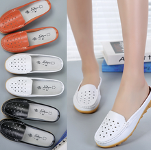Hollow women half dragging sandals breathable flat shoes Mama shoes small white shoes