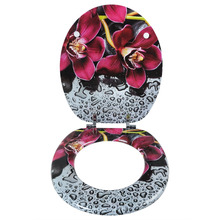 Fancy and custom designed novelty printed urea material soft closing toilet seat for home decoration