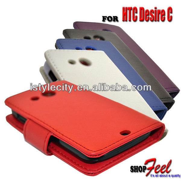 PU LEATHER WALLET FLIP CASE Back COVER FOR HTC DESIRE C PHONE