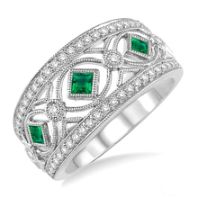 Gemnel fashion white gold ring emerald costume jewelry for women