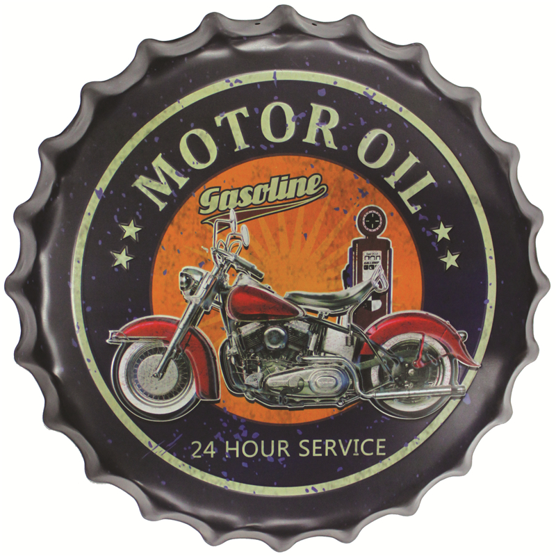 Motorcycle Vintage Tin Sign Round beer bottle cap Bar pub home Wall Decor Retro Metal Art Poster