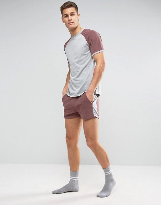 KY summer latest design men toweling sleeves tee matching shorts sports clothing set