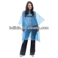 PE disposable printed clear poncho rainwear cheap
