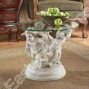 White marble sculpture base for glass table top