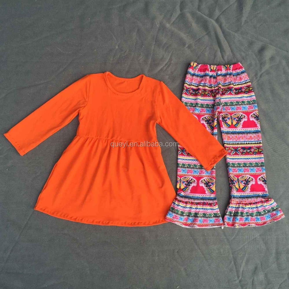 New arrival fall girls outfits Halloween childrens clothes set solid color orange lothes dress wholesale kids clothing