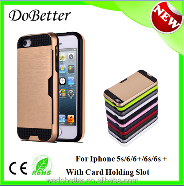 Bulk Buy from China Unibersal TPU+PC Material Mobile Phone Accessories for Iphone 6s Phone Case Card Holder