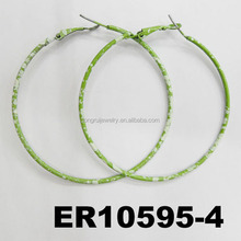green paint spraying colored snowflake big metal spring loaded hoop earrings