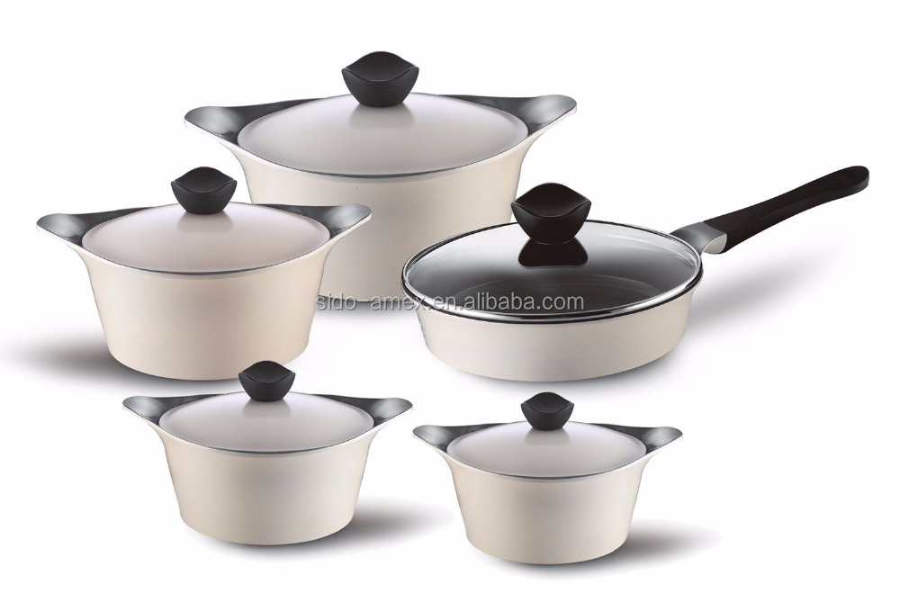cast aluminum cookware die casting ceramic cookware set non-stick korean style