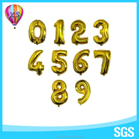 2016 China number foil party balloon with 9inch or 16inch number shape stand for party decoration