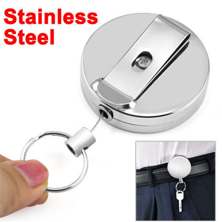 Metal Delicate And Durable Retractable Pull Chain Reel ID Card Badge Holder Reel Recoil Belt <strong>Clip</strong>