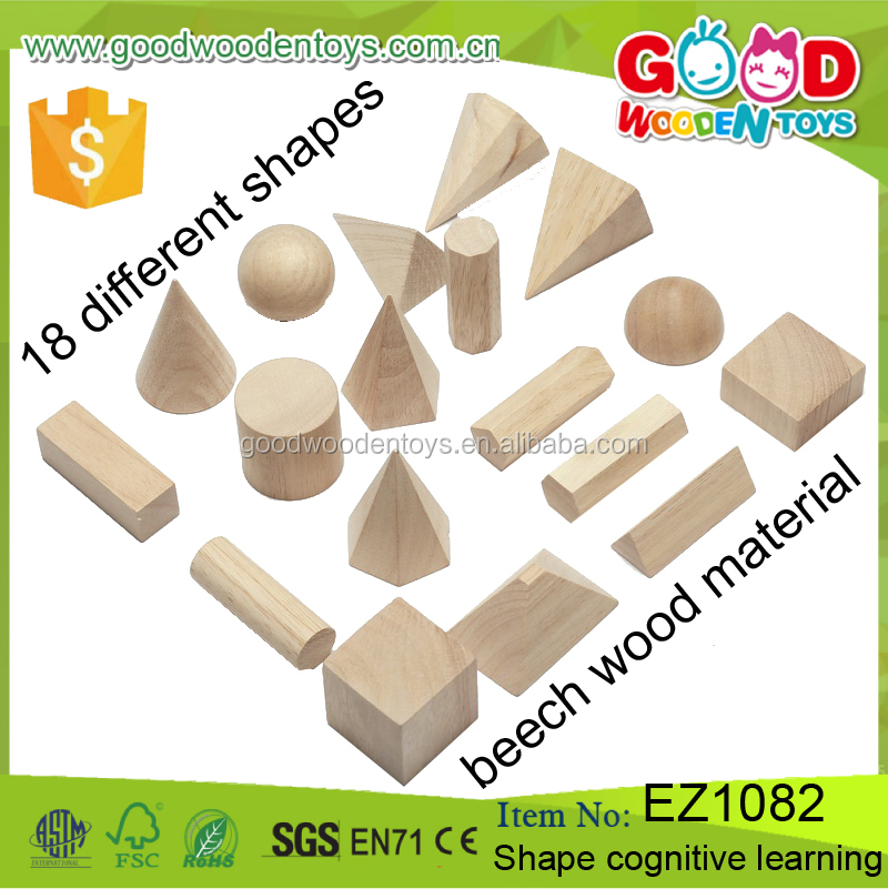 Factory Price 18pcs Natural Beech Wood Children Educational Shape Cognitive Learning Building Kids Block Toys