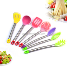 Mulitcolor 7-Piece Silicone Kitchen Utensils Set With Stainless Steel Handle OEM ODM Cooking Tools Kitchen Ware
