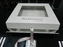CUSTOM folding square paper giftware box with pvc window with ribbon string closure
