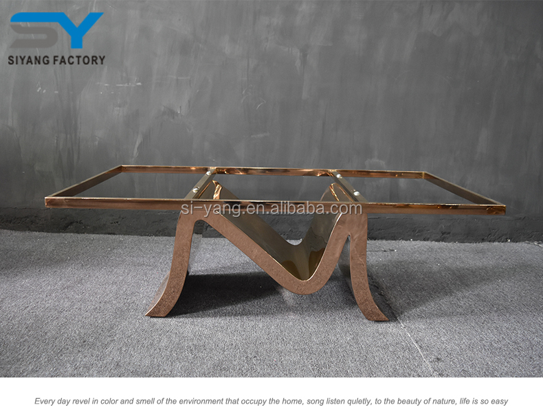 Stainless steel furniture coffee table french style flower glass coffee table made in china CJ027