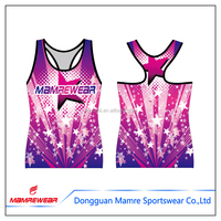 Dye sublimation custom design cheerleading uniforms one piece cheerleading compression wear sports wear practice tank top