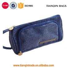Cute And Functional With Double Zipper Blue Wash Toiletry Makeup Bag Convenient For Travel