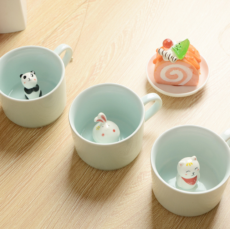 Mini cartoon three-dimensional Heat-resistant Celadon <strong>cup</strong> for nice gift