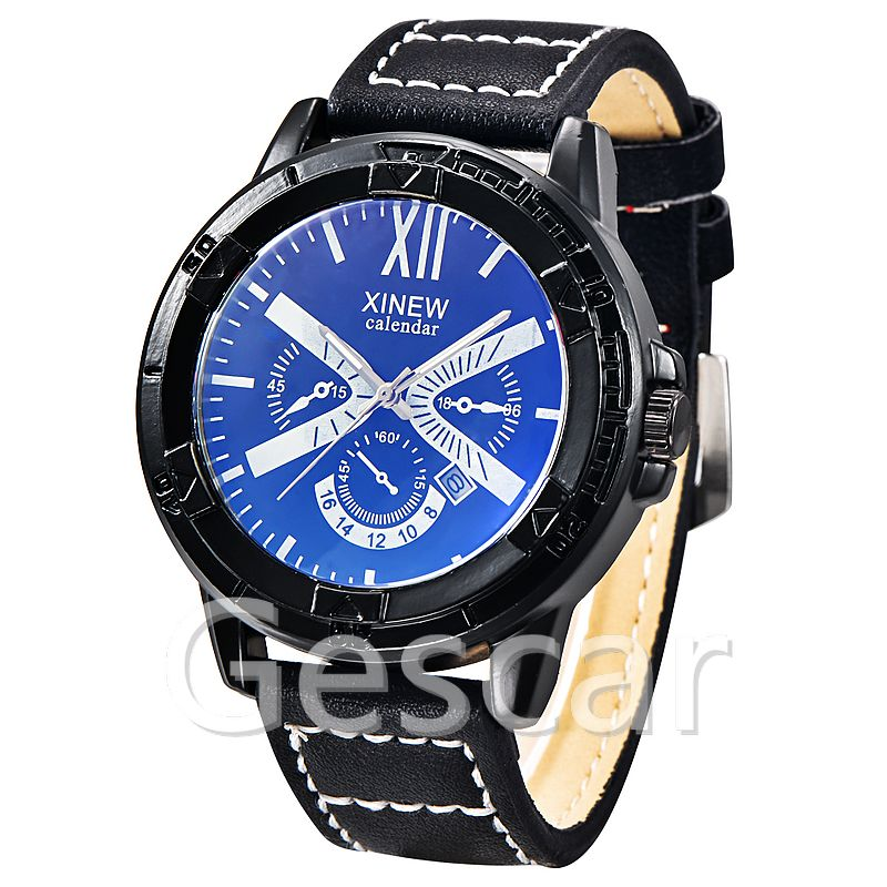 XINEW-5545A high quality date watch original three eyes leather watch wrap quartz military casual leather watch
