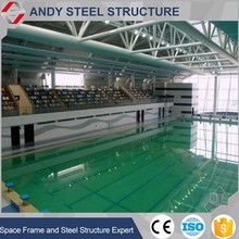 Steel pipe truss roof for swimming pool structure