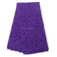 100 polyester water soluble lace custom embroidery design ladies suits purple guipure lace fabric with rhinestones