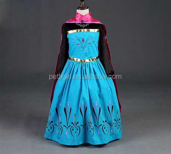 Wholesale!! Long sleeve Girls Party Dresses Blue Polyester Elsa Dress Elsa Costume Kid dress G-NBGD907-1N