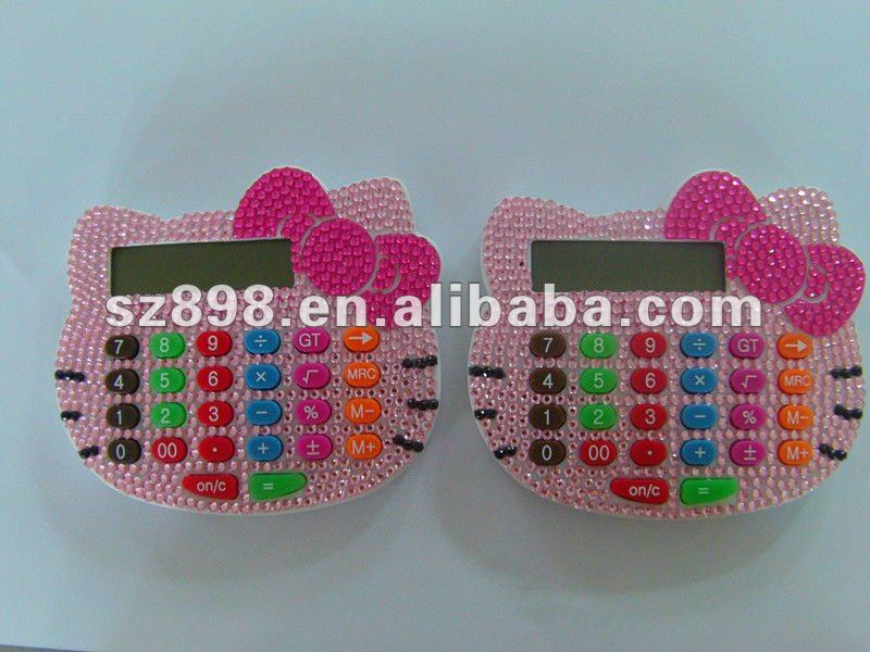 Lovely pink hello kitty crystal bling calculator
