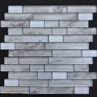 MB23198-3 white strip linear glass mosaic tile for wall decoration