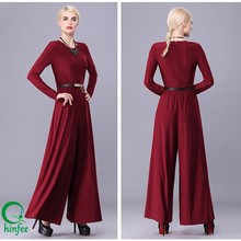 JPS008 Spandex Polyester Women Burgundy Maxi Long Jumpsuits