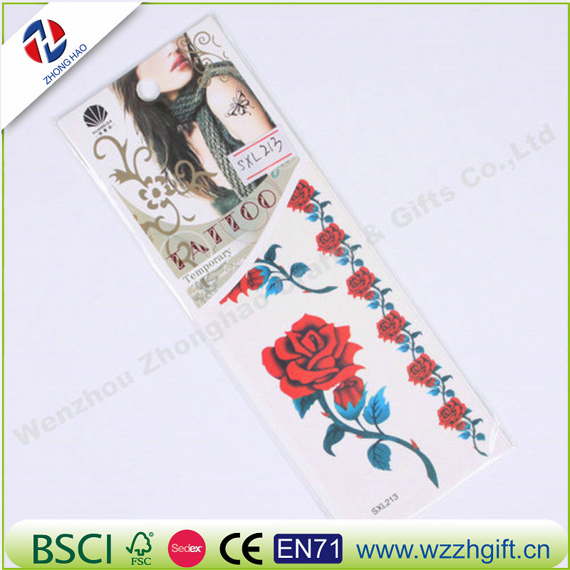 Beautiful Rose Flower Tattoo Stickers Robot Arm Skull Waterproof Temporary Tattoo Sleeve Sexy Cool 3D Fake Tattoo Sticker