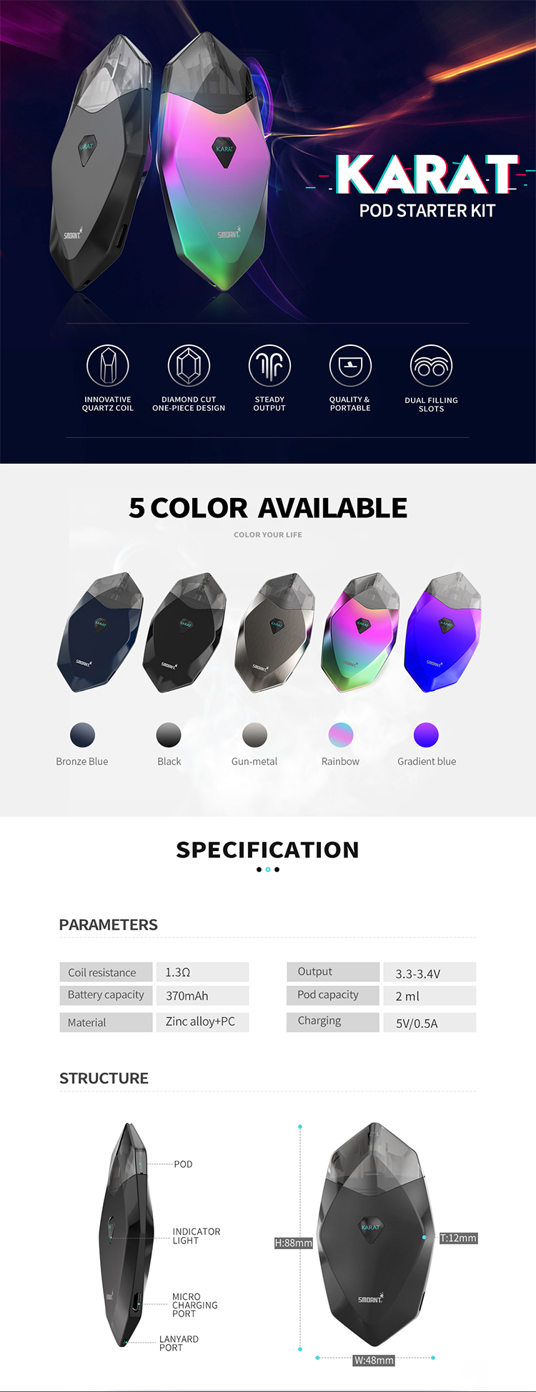 Latest vape smoant Karat kit pod system Innovative Quartz Coil for ecig