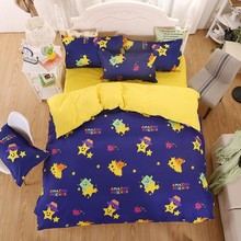 Small Monster Pattern Purple And Yellow Ployester Comforter Set