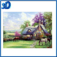 Country Cottage and Horses 3D Dimensional Holographic Lenticular Animated Framed Poster
