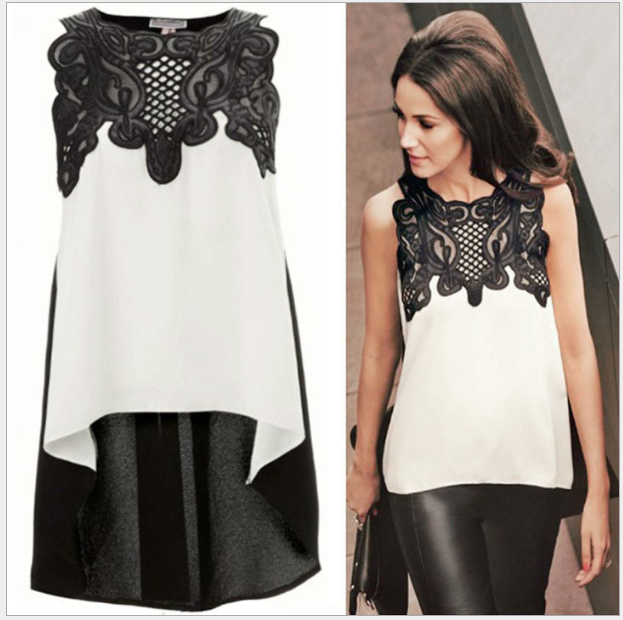 S31453A Women Blouse Sleeveless Casual Tops Flower Lace Embroidered Irregular Summer Style 2015 Blouses