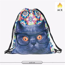 New arrivals colorful backpack /active leisure drawstring backpack with cat