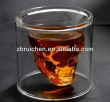 boroslicate double wall glass cup with inner design for wine glass or beverage